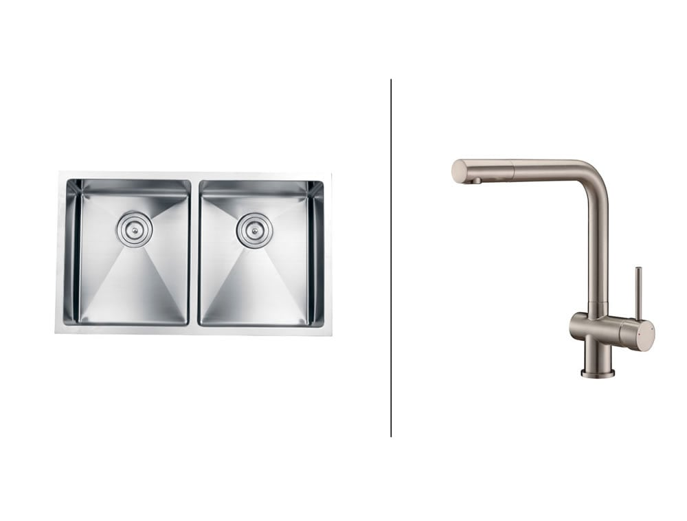 Ruvati Stainless-Steel Kitchen Sink/Brushed Nickel Center-Set Faucet Set