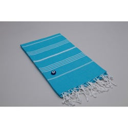 Authentic Pestemal Fouta Original Turquoise Blue and White Stripe Turkish Cotton Bath/ Beach Towel