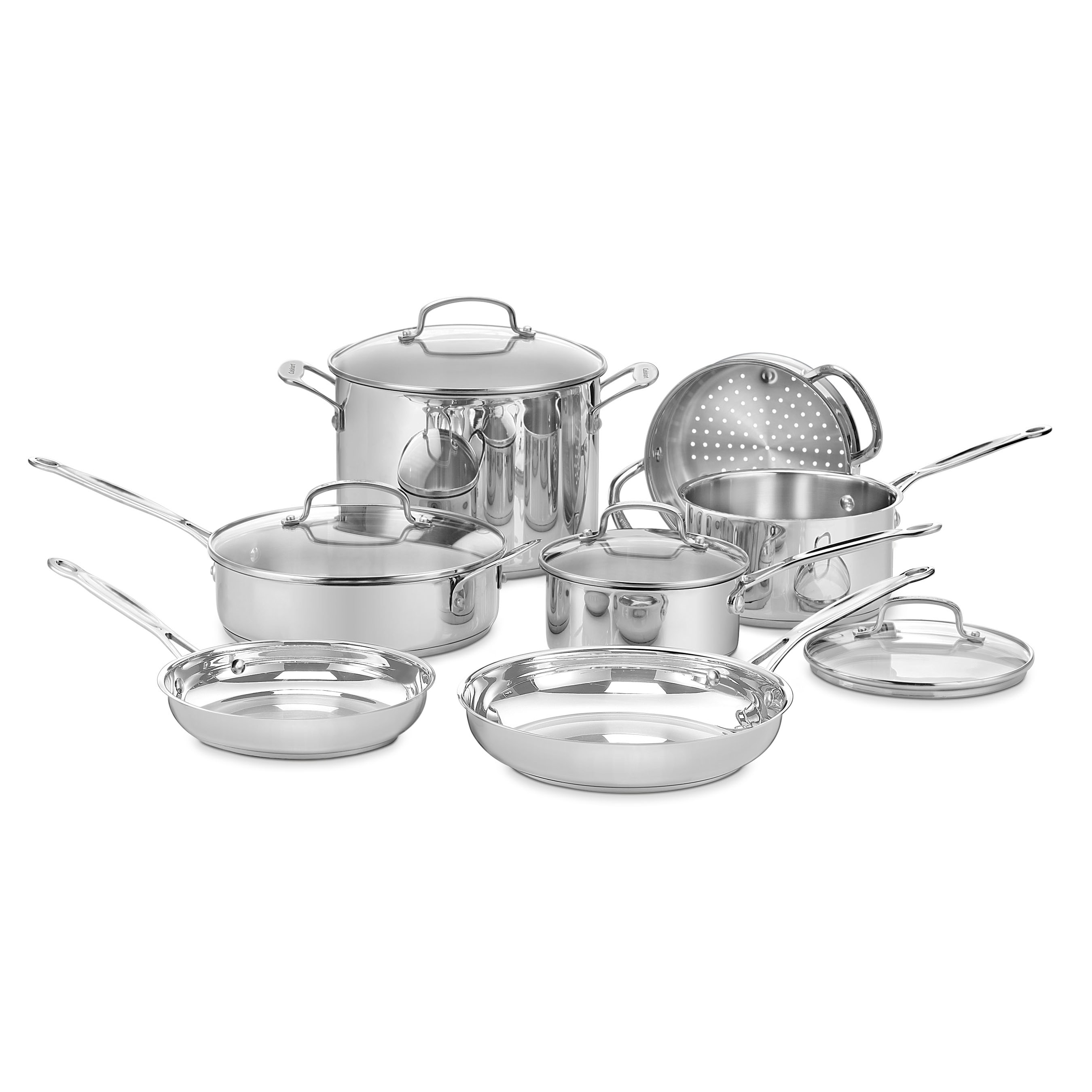 Chefs classic stainless 11 piece cookware set pans pots kitchen pan pc