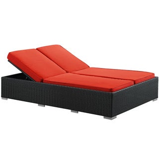 Evince Two-Seater Outdoor Espresso/ Red Cushion Wicker Patio Chaise Recliner