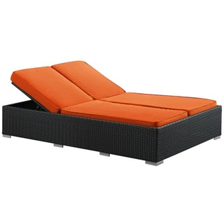 Evince Two-Seater Espresso/ Orange Cushions Outdoor Wicker Patio Chaise Recliner