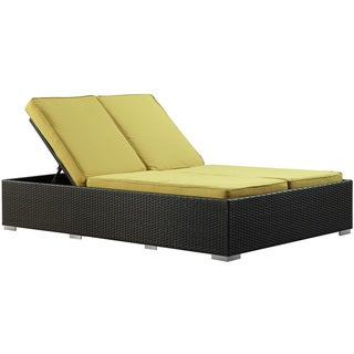 Evince Two-Seater Espresso/ Peridot Cushions Outdoor Wicker Patio Chaise Recliner