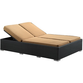 Evince Two-Seater Outdoor Espresso Wicker Patio Chaise Recliner