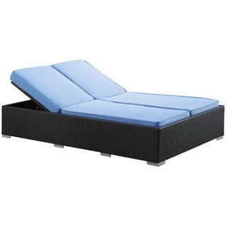 Evince Two-Seater Espresso/ Blue Cushions Outdoor Wicker Patio Chaise Recliner