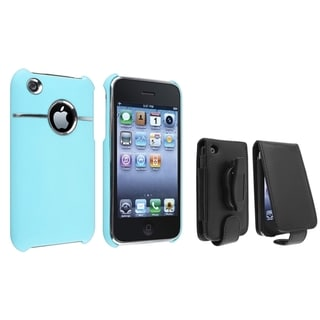 BasAcc Blue Chrome Case/ Black Leather Case for Apple� iPhone 3/ 3GS