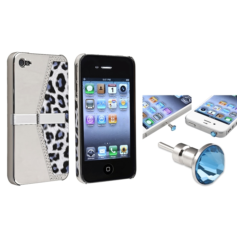 BasAcc Silver Leopard Case/ Blue Headset Cap for Apple iPhone 4/ 4S