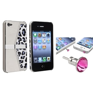 BasAcc Silver Leopard Case/ Pink Headset Cap for Apple� iPhone 4/ 4S