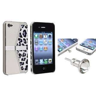 BasAcc Silver Leopard Case/ Clear Headset Cap for Apple� iPhone 4/ 4S