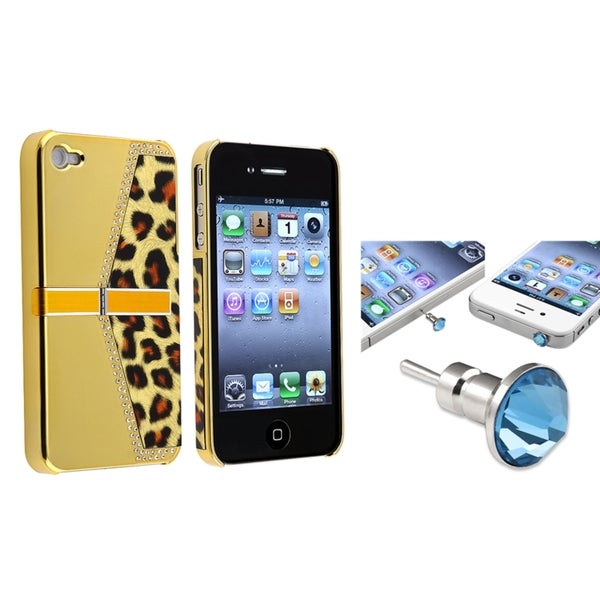 BasAcc Golden Leopard Case/ Blue Headset Cap for Apple® iPhone 4/ 4S