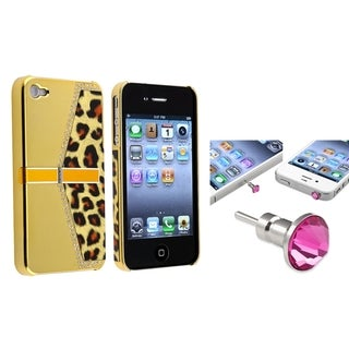 BasAcc Golden Leopard Case/ Pink Headset Cap for Apple� iPhone 4/ 4S