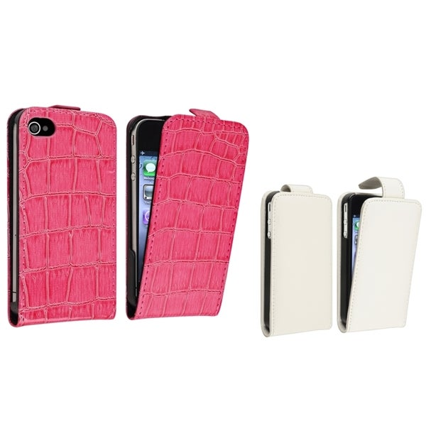 BasAcc Pink Crocodile/ White Leather Case for Apple® iPhone 4/ 4S