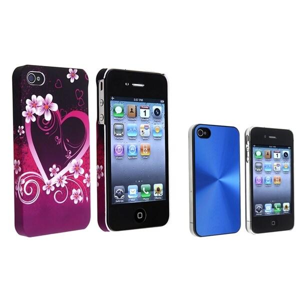BasAcc Blue Aluminum Case/ Purple Rubber Case for Apple® iPhone 4/ 4S