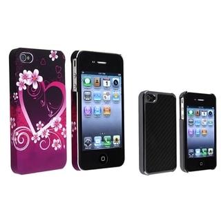 BasAcc Black Carbon Case/ Purple Rubber Case for Apple� iPhone 4/ 4S