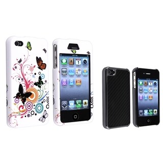 BasAcc Snap-On Black Carbon Case/White Rubber Case for Apple iPhone 4/4S