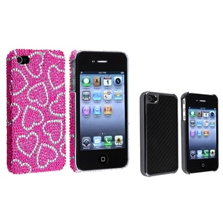 BasAcc Pink/ White Heart/ Black Carbon Case for Apple� iPhone 4/ 4S
