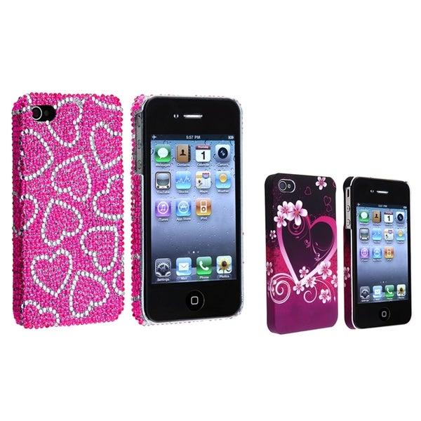 BasAcc Pink/ White Case/ Purple Rubber Case for Apple® iPhone 4/ 4S
