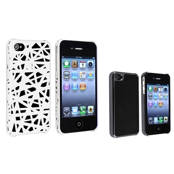 BasAcc Black Carbon Case/ White Rubber Case for Apple® iPhone 4/ 4S