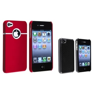 BasAcc Black Carbon Case/ Red Rubber Case for Apple® iPhone 4/ 4S
