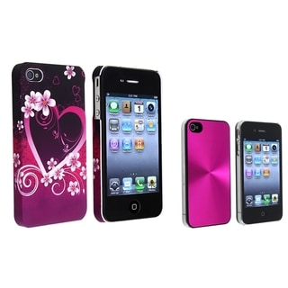 BasAcc Pink Aluminum Case/ Purple Rubber Case for Apple� iPhone 4/ 4S
