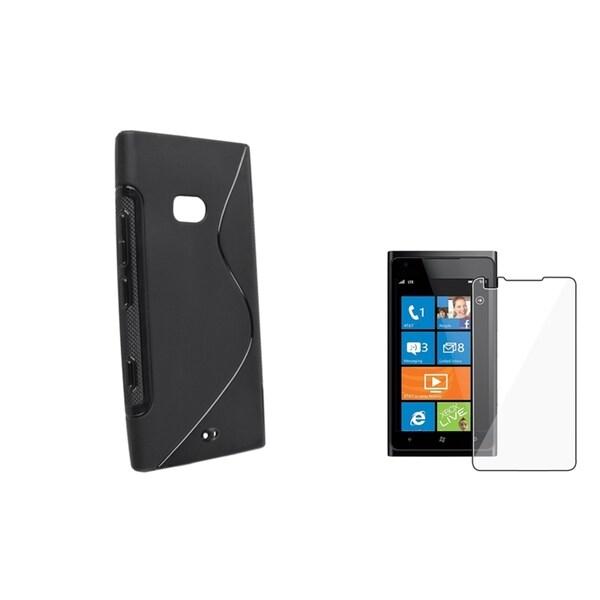 BasAcc Black S Shape TPU Case/ Screen Protector for Nokia Lumia 900
