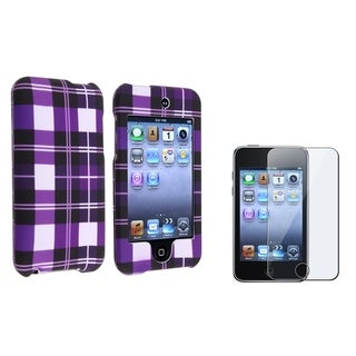 BasAcc Purple Striped Case/Screen Protector for Apple iPod Touch Generation 2/3