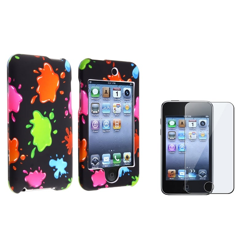 BasAcc Colorful Blobs Rubber Case/Screen Protector for Apple iPod Touch Generation 2/3