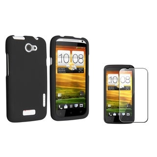 INSTEN Black Rubber Phone Case Cover/ Screen Protector for HTC One X