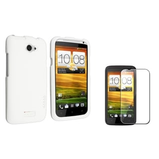 BasAcc White Rubber Case/ Screen Protector for HTC One X