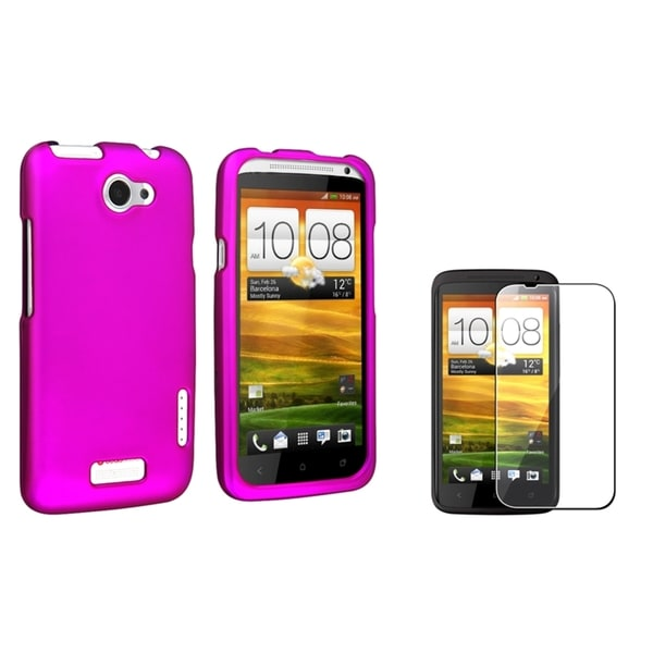 BasAcc Purple Rubber Case/ Screen Protector for HTC One X