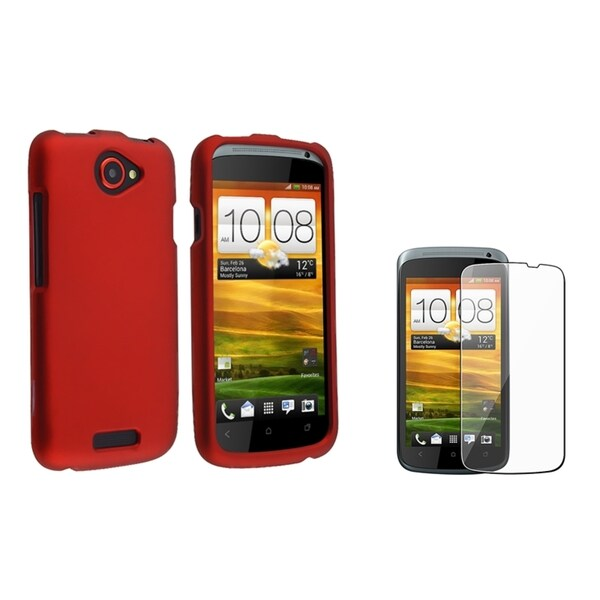 BasAcc Red Rubber Case/ Screen Protector for HTC One S