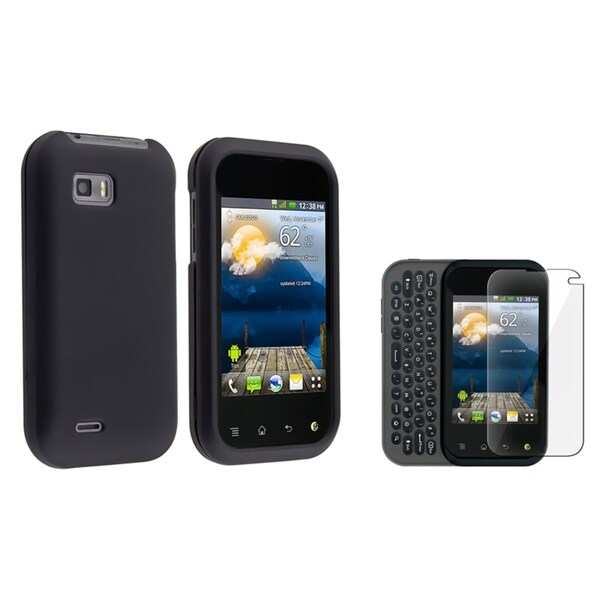 INSTEN Black Rubber Phone Case Cover/ Screen Protector for LG MyTouch Q