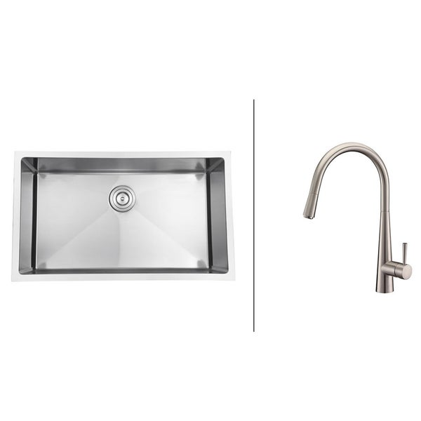 Ruvati Brushed Nickel Stainless Steel Kitchen Sink/ Faucet Set