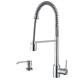 Ruvati Polished Chrome Commercial Style Pullout Spray Kitchen Faucet with Soap Dispenser