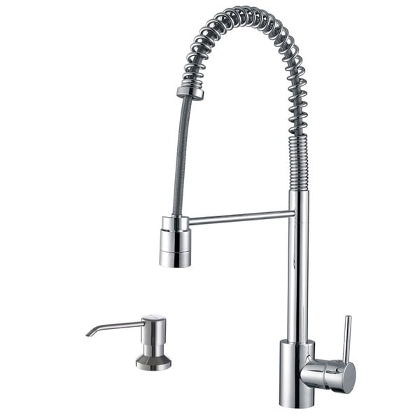 Ruvati Polished Chrome Commercial Style Pullout Spray Kitchen Faucet ...