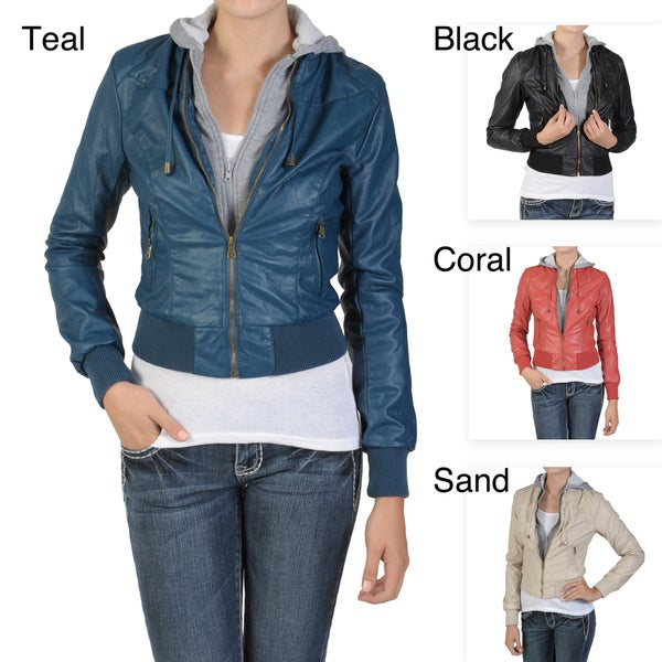 Journee Collecion Junior's Zippered Faux Leather Hooded Jacket