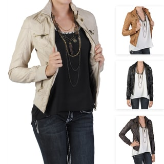Journee Collecion Junior's Zippered Faux Leather Jacket