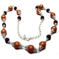 Silverplated Garnet and Gold Bumpy Pearl Jewelry Set