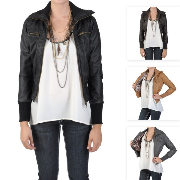 Journee Collection Junior's Faux Leather High Collar Bomber Jacket