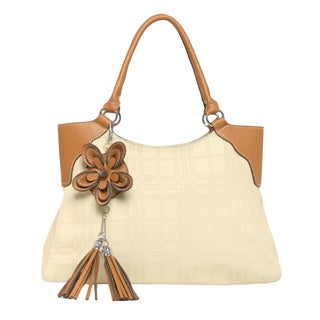Journee Collection Faux Leather Embossed Flower Detail Satchel