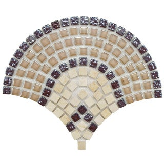 SomerTile Reflections Arch Spice Glass and Stone Mosaic Tiles (Case of 10)