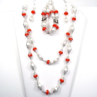 Silverplated Orange Crystals and White Glass Pearl Jewelry Set