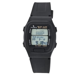 Laurens Italian Design Men's Black Plastic Dual Time Alarm Watch
