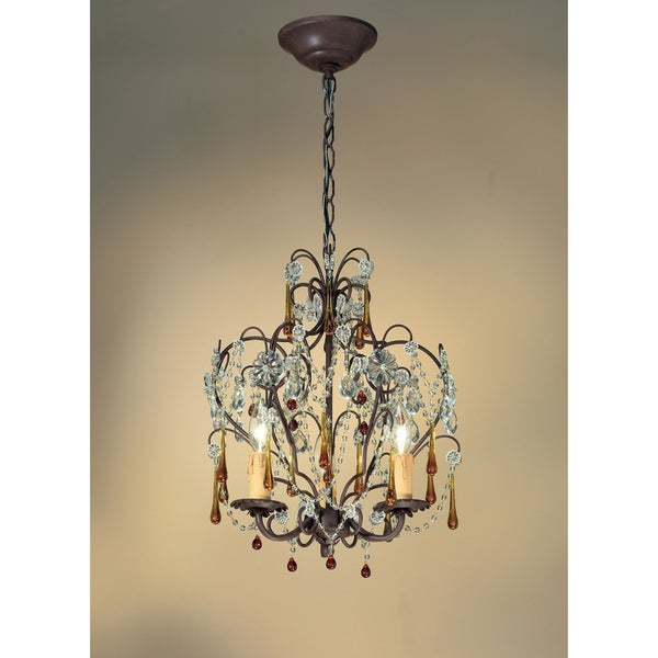 Crystorama Ella Collection 3-light Dark Rust Mini Chandelier