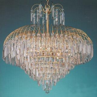 Shower 12-light Gold Crystal Chandelier