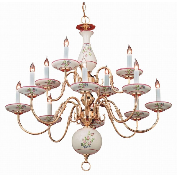 Classic Ceramic 12-light Chandelier in Brass