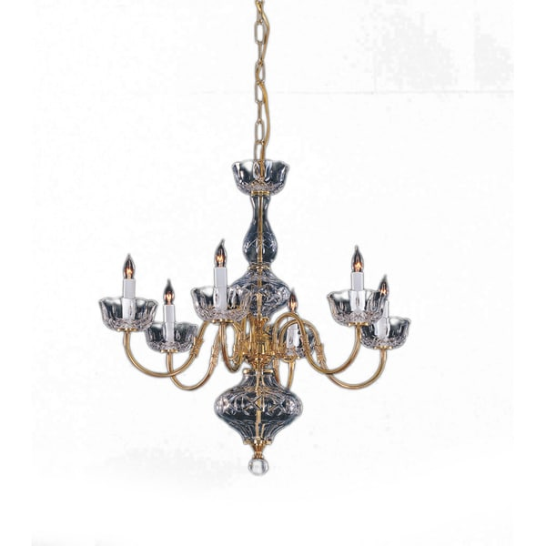 Colonial 6-light Chandelier in Polished Brass and Clear Glass