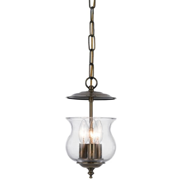 Crystorama Ascott Collection 3-light Antique Brass Pendant