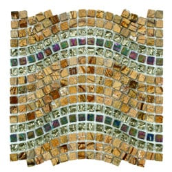 SomerTile 12.5x11.75-inch Reflections Wave Jupiter Glass, Stone and Metal Mosaic Tile (Case of 10)