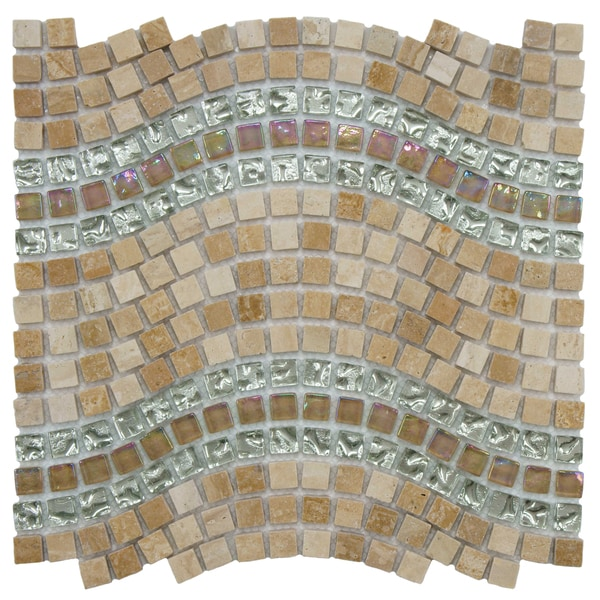 SomerTile Reflections Wave Venus Glass, Stone and Metal Mosaic Tile (Case of 10)