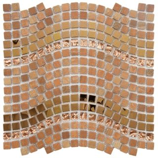 SomerTile 12.25x11.75-inch Reflections Wave Saturn Glass, Stone and Metal Mosaic Tile (Case of 10)